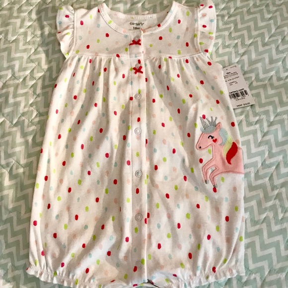 6182af601 Carter's One Pieces | Carters Girls Polkadot Unicorn Snap Up Romper ...